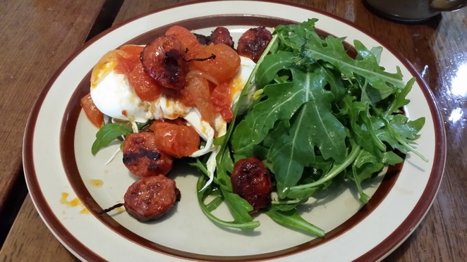 Queen Street Cafe, Poached Eggs with Spanish Chorizo, Spicy Tomato Compote, Rocket and Dark Rye Bread, Adelaide