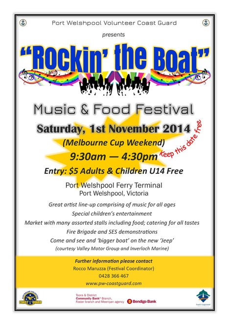 rockin the boat port welshpool music food festival volunteer coast guard
