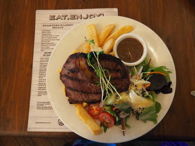 steak and chips, Dublin Docks