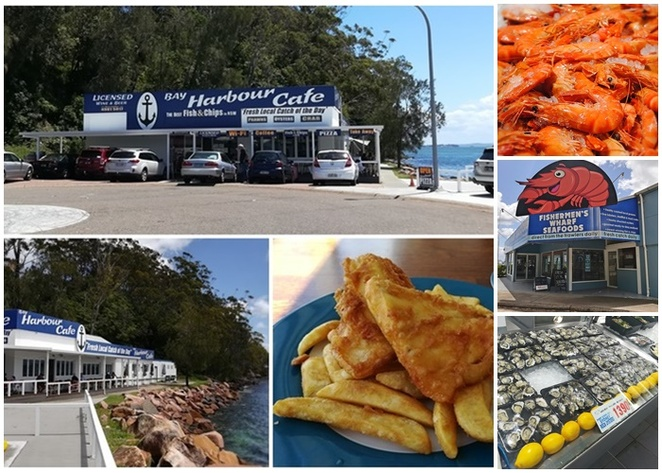 the bay cafe, nelson bay, fish and chips, seafood, port stephens, NSW, overlooking the water, views, valentines day, seafood, nelson bay restaurants,