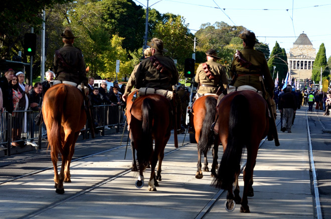 Victoria Melbourne Shrine of Remembrance Armed Forces Reserve Reservists Army Navy Air Force Parade Commemorative Service Light Horse Battle of Beersheba