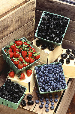 Strawberries, blackberries and blueberries