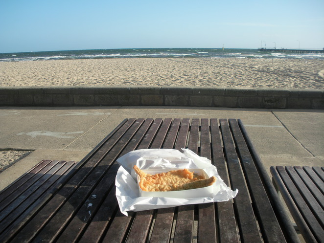 beach,fish,chips,ocean,altona,sand,sea