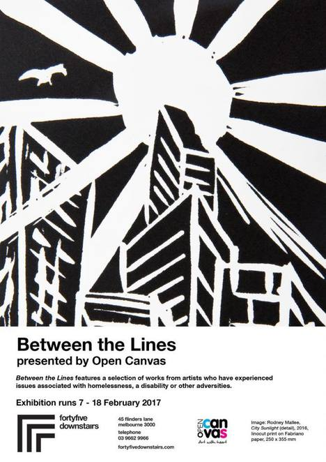 between the lines, open canvas, fortyfivedownstairs, forty five downstairs, 45 downstairs, art, artists, homelessness, disability, playful sketches, sculptures, intricate studies, desert dreamings, space creatures, humpback whales, city scenes, exhibition art exhibition, community event, fun things to do