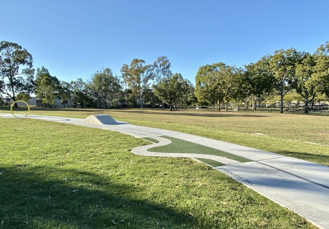 The new bike and scooter track includes a variety of obstacles for children of varying ages
