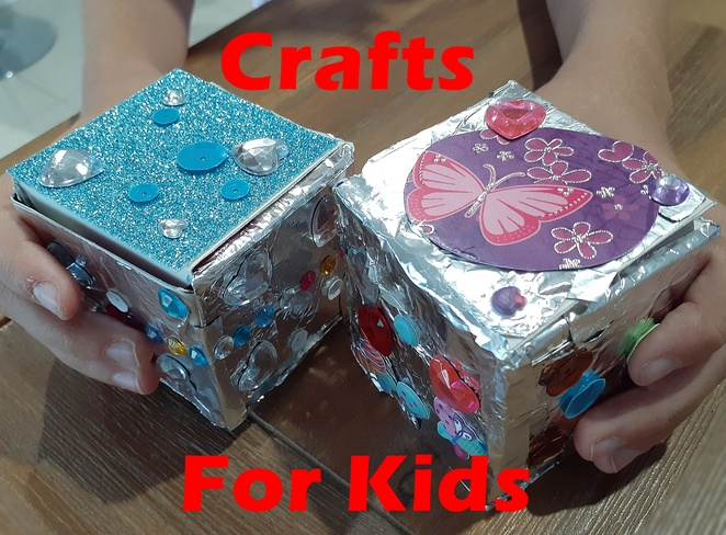 crafts for kids, items from home, everyday, materials, foil, boxes, box template, boxes, cardboard, jewellery box, treasure box, paper crafts, NSW, Australia,