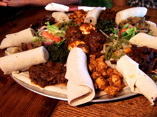Ethiopian Food is normally eaten with injera bread