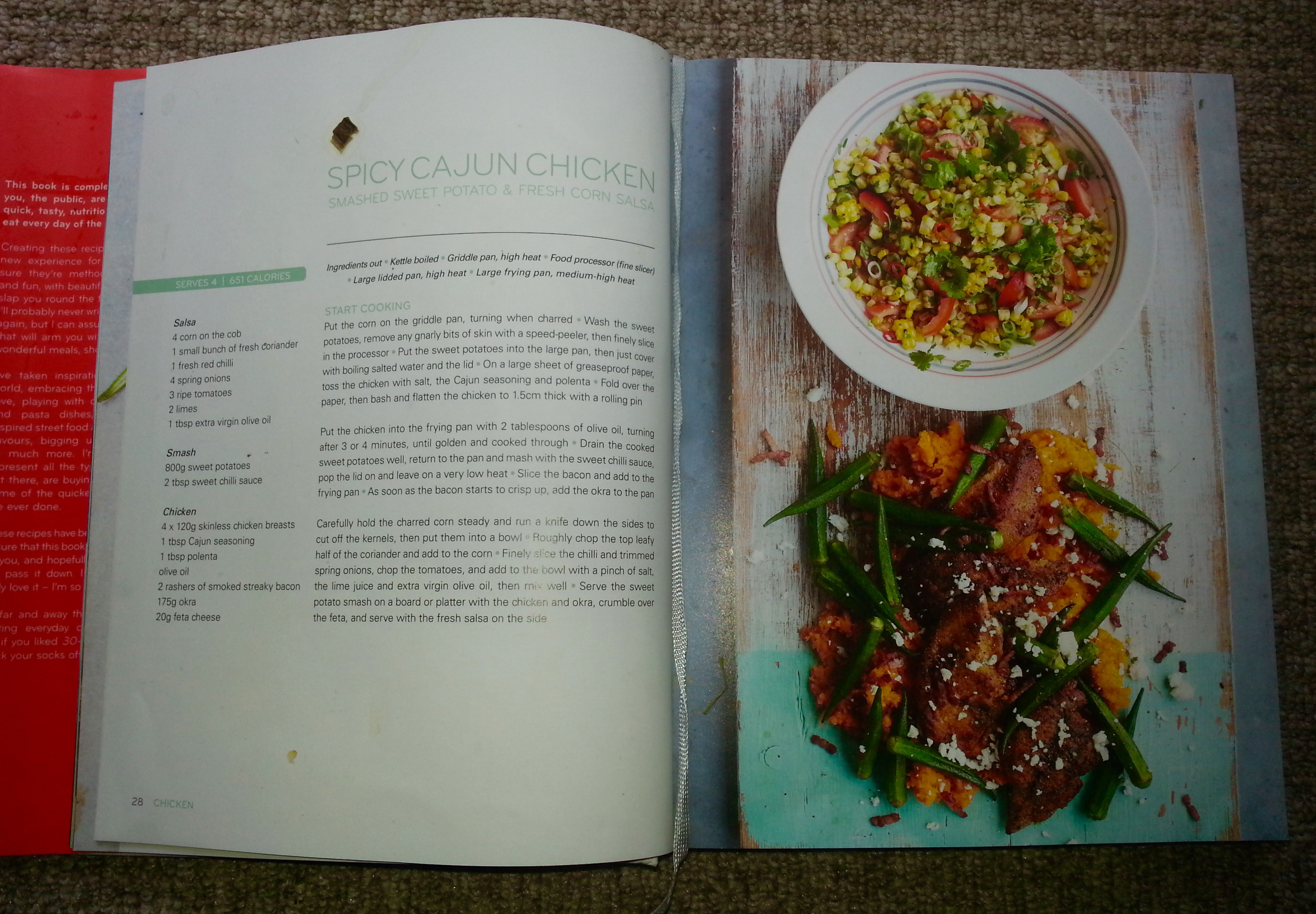 Jamies 15 minute meals book review everywhere jamies 15 minute meals jamie oliver recipe book cajun chicken salsa forumfinder Image collections