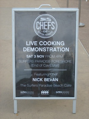 Live cooking demo in Surfers Paradise