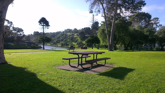 market square, park bench, old noarlunga, onkaparinga river