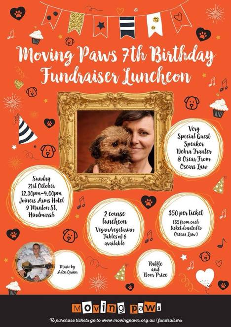 Moving Paws, birthday, luncheon, fundraiser, 2018, flyer