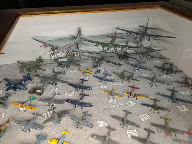 Photos: Lloyd Marken - Just a few of the over 300 model aircraft handmade by Nelson Bay local Norman Forrester.