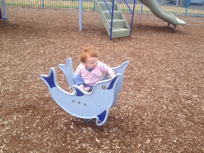 Testing out the Dolphin Play Equipment