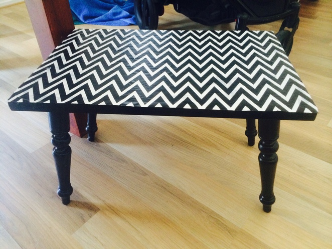 TABLE, CHEVRON, AFTER PHOTO, SIDE TABLE, UPCYCLE
