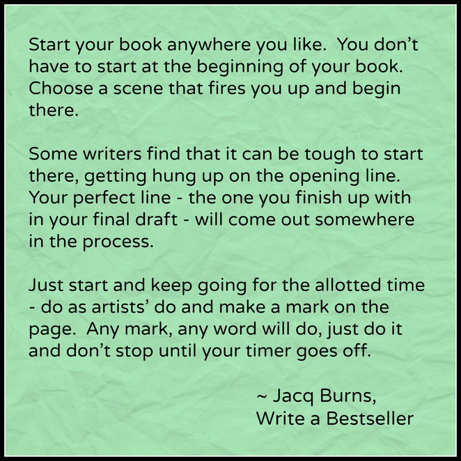 Write a bestseller, Jacq Burns, Writing tips, Getting started, how to start writing a novel