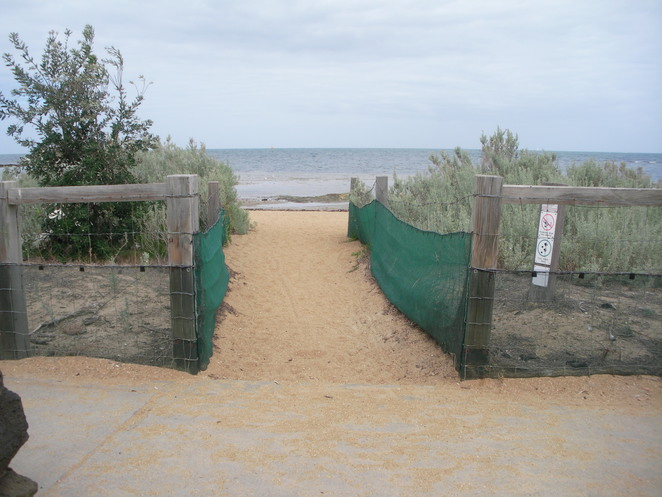 fence,beach,sand,ocean,ricketts,point,melbourne,victoria