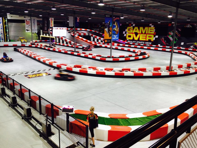 game over, go-karting, gold coast, helensvale, indoor climbing, school holidays