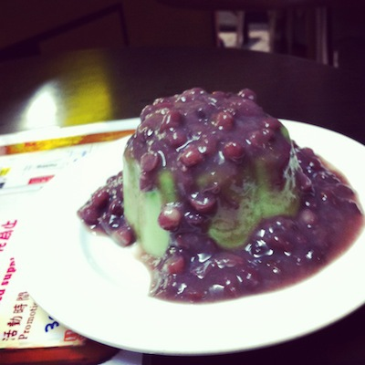 Green Tea Panacotta with Red Bean