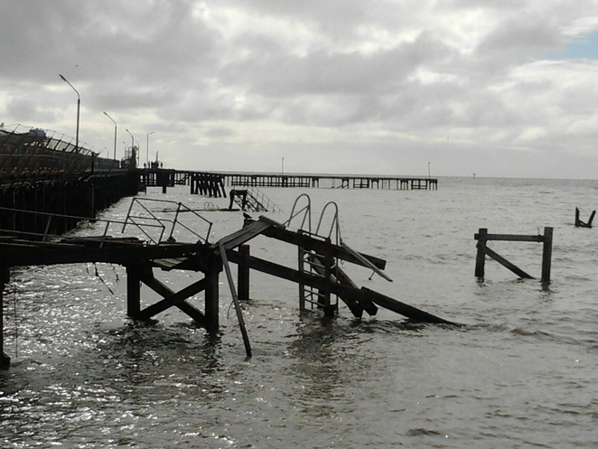 jetty, storm damage, Wallaroo, September 30 2016