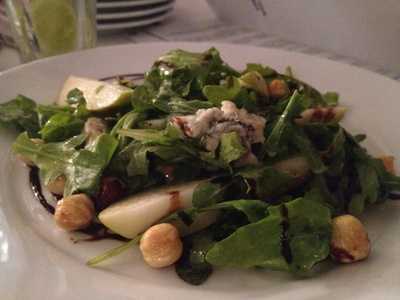 Pear, hazelnut and gorgonzola salad on roquette with apple cider dressing and balsamic reduction ($15)