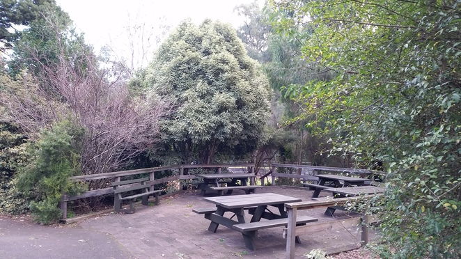 Plenty of tables and seating at Silvan Reservoir.