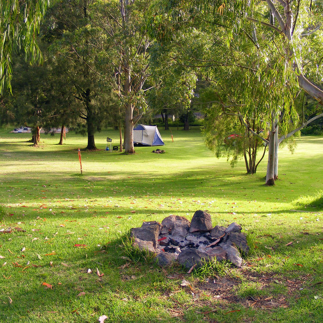 Tent and fire pit in the unpowered camping section at Queen Mary Falls Caravan & Tourist Park