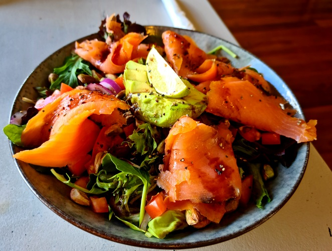 Salmon, salad, lunch, special, healthy, family