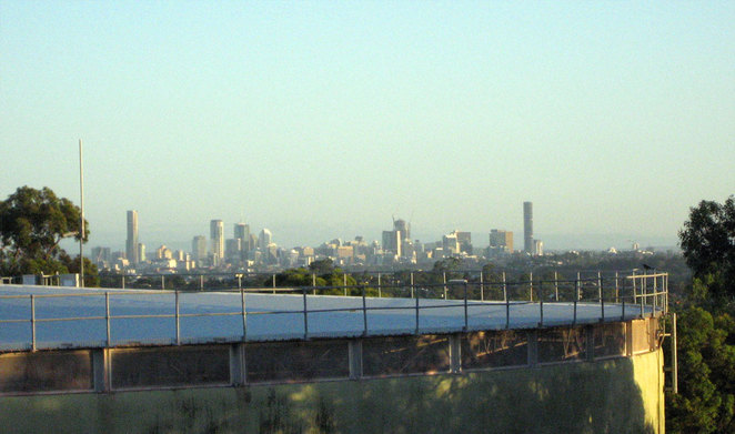 A partial glimpse of the Brisbane CBD from the summit at Milne Hill
