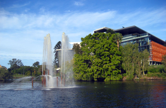 The fountain in the lakes at The University of Queensland
