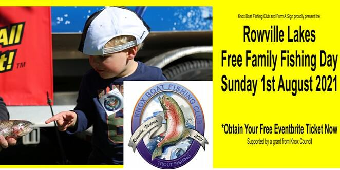 2021 rowville lakes free family fishing day, community event, fun things to do, rowville lakes, free fun for the kids, knox city council, knox boat fishing club, learn how to fish, food and drink, prizes, showbags, free fishing event