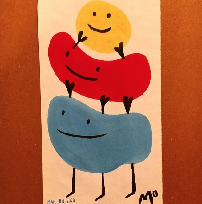 Mo Willems (@mo.willems.studio)'s 'lift each other up' lunchtime doodle - doesn't this sweet painting just make you want to grin?