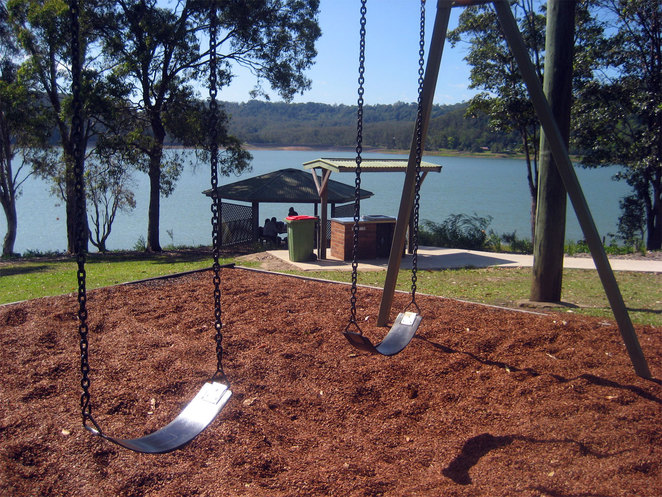 Children's playground, barbecue and covered picnic area at Baroon Pocket Dam