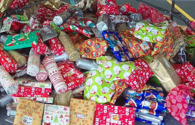 A pile of presents collected by the Brisbane Basket Brigade