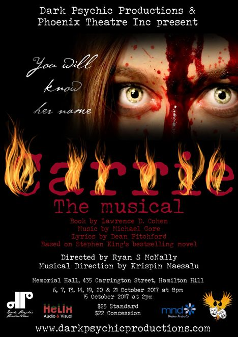 Carrie, Stephen King, Dark Psychic Productions, Phoenix Theatre, musical, play, horror, performing arts, show