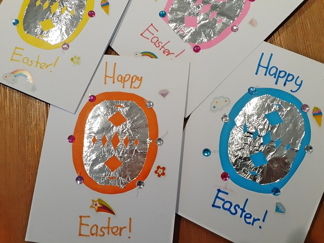 crafts, cards, blank cards, DIY, easter cards, snowflake, easter ideas, easter crafts, kids, children, family, rainy day, australia,