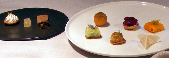 A selection of canapes at Dan Arnold Restaurant