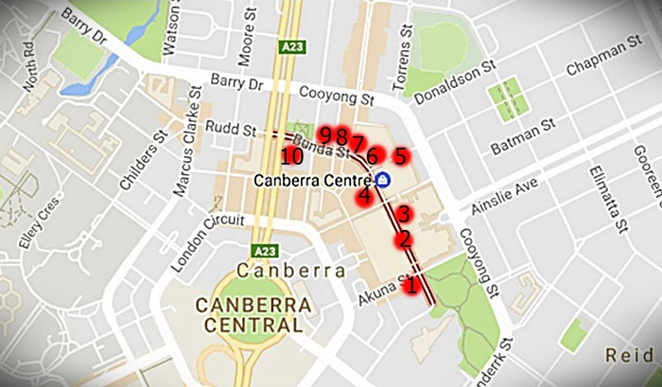 google maps, bunda streets, canberra, restaurants, cafes, eat, bakeries, shops, canberra centre, north quarter