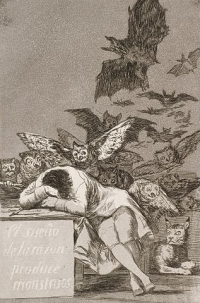 The Sleep of Reason by Francisco Goya - FAF4YL0zP9cjHg at Google Cultural Institute maximum zoom level, Public Domain