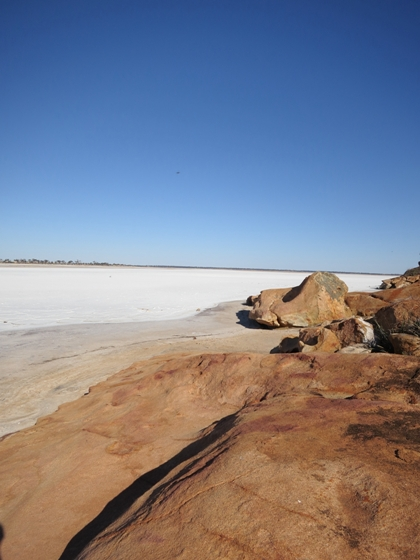 Eaglestone Rock is situated on Lake Brown, a large salt-lake which is oftem dry.