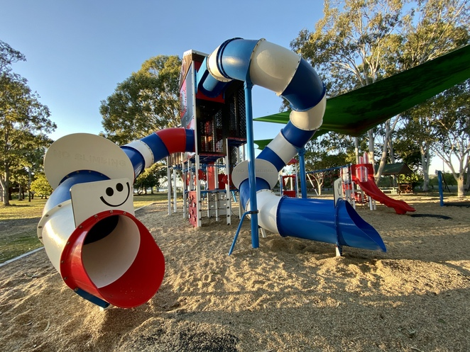Part of the fantastic playground at Les Lee Park