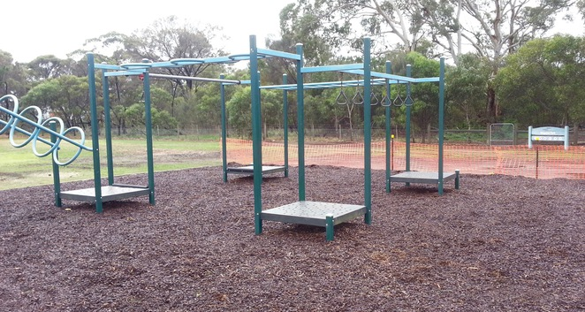 Monkey bars, flying fox, playground