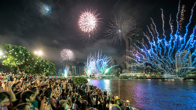 South Bank, New Years, fireworks, Brisbane
