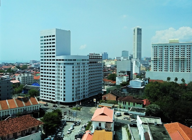 view of george town from E&O Hotel heritage wing, penang, malaysia
