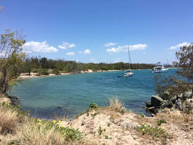 A sheltered cove at Wave Break Island