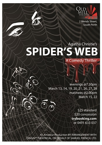 Agatha Christie, Spider's Web, Old Mill Theatre, performing arts, whodunit, comedy, stage, suspense, humour, murder