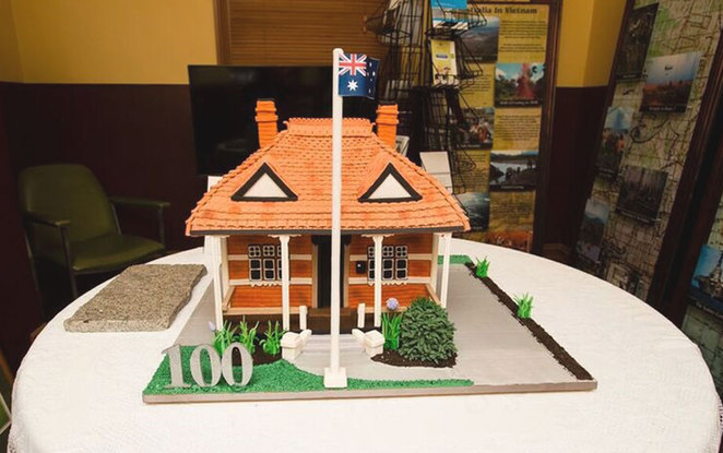 ANZAC Cottage time capsule and cake house