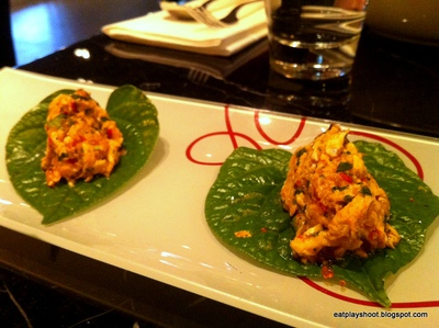 Appetiser: Betel Leaf with Chicken, Smoked Eggplant, Chilli and Coriander