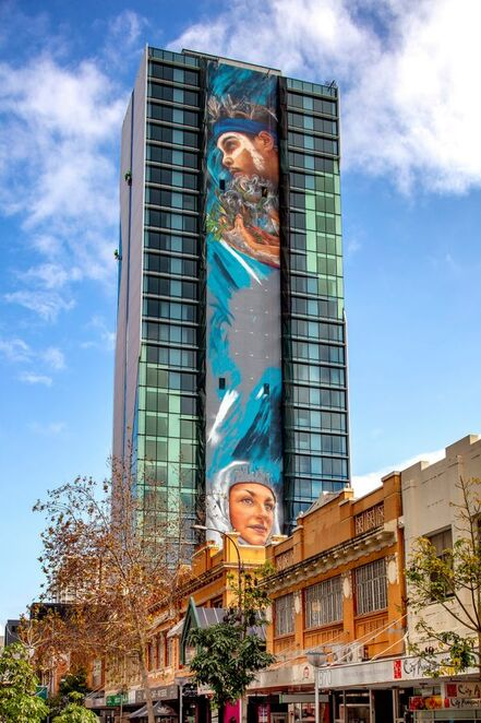 Art series hotels, Matt Adnate, Adnate hotel, street art hotel perth, perth accommodation, adnate mural, Australia's biggest mural, Perth hotels, best place to stay in perth, street art hotels
