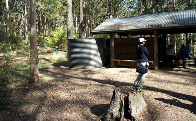 Water tank and picnic shelter at Dundas Bush Camp