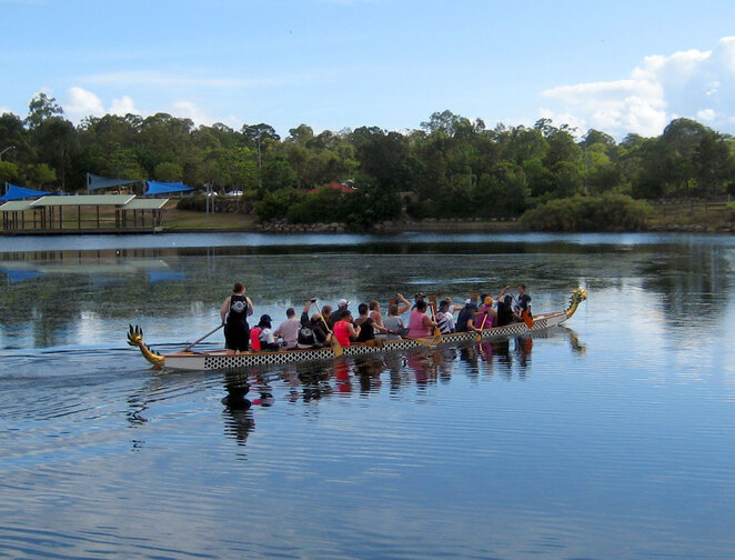 Dragon boating on Forest Lake